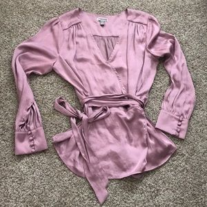 Lilac shimmery wrap around blouse